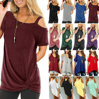 Women Cold Shoulder Tee Top Short Sleeve Loose Baggy Blouse Casual Solid T-shirt
