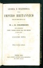 CHAMBERS STORIA E STATISTICA IMPERO BRITANNICO BIBLIOTECA COMUNI ITALIANI 1853