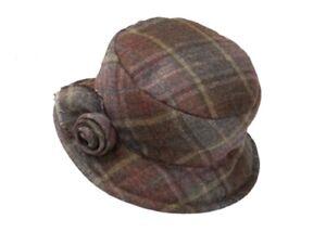 Olney Edith ladies Hat Quilted Tweed Charcoal or Brown