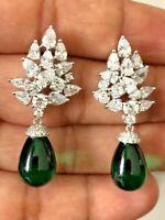 14Ct Tear Drop Emerald Simulant Diamond Dangle Earrings White Gold Finish Silver