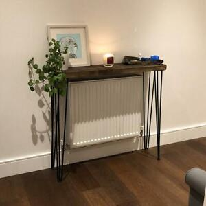 Rustic 4 Legs Wood Console Table with 4 Hairpin Legs Rustic Hallway Table 24cm