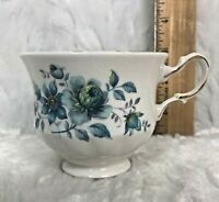 Queen Anne Tea Cup Blue Turquoise Flowers Fine Bone China Made in England Vtg