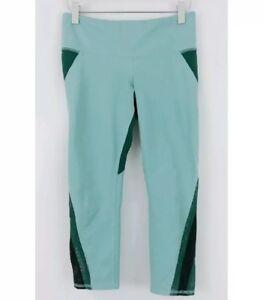 Alo XS  Leggings Capri 87370 Mesh Insert Green Blue Free Ship