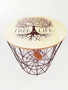 Tree of Life Design Wire End Table Home Office Living Room Furniture with Lid UK