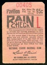 1940's Boston Braves Baseball Ticket Stub