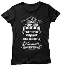 """T-SHIRT DONNA """"Mamma Tatuata"""" maglietta 100% cotone - NERO"""