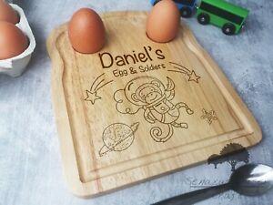 Personalised Dippy eggs Monkey In Space Egg & Soldiers board, Breakfast Board