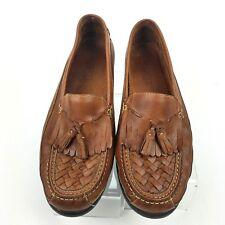 Borelli Andrew Men Sz 13M Brown Woven Leather Moc Toe Tassel Kiltie Loafers