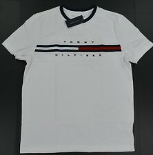 bb6fa95a97 Mens Classic Fit Tommy Hilfiger Striped Crew Neck T Shirt S M L XL 2xl White  Regular XS