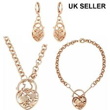 """SALE 9ct 9K Rose """" Gold Filled """" Prom Necklace w bracelet & Earring Xmas p946RGs"""
