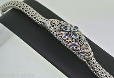 """18K WHITE GOLD WITH SILVER AND BLUE TOPAZ 7.5"""" LADIES BRACELET WEIGHT: 46.5GM"""