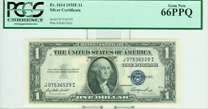 1935-E $1 SILVER CERTIFICATE PCGS 66PPQ GEM NEW IN HIGH GRADE