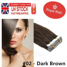"16"" Tape-In Russian Remy Human Hair Extensions 30g 20pcs  #02 Dark Brown UK"