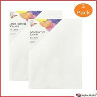2pk 40x30cm Artist Canvas Panel Blank White Painting Board Kids Adult Art &Craft