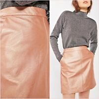 Topshop Tall Pink Metallic PU Shiny Mini Skirt Size 10 12 UK US 6 8 Blogger ❤