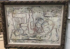 "29.5"" H  x 18 "" W RENE PORTOCARRERO CUBAN ARTIST OIL ON CANVAS SIGNED PAINTING,"