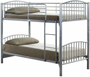 Metal Bunk Bed For Children 3FT Split Into 2 Single Beds Silver Grey Sturdy