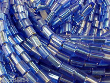 Vtg 500 SILVER LINED SAPPHIRE BLUE PILLOW 3X5mm SPACER GLASS BEADS #102510t