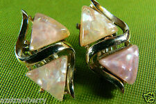 Vintage Silver Tone Metal  Pink two tone lucite clip earrings Great