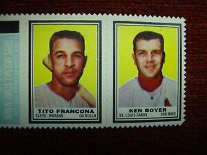 1962 TOPPS STAMP PANEL -TITO FRANCONA & KEN BOYER - WELL CENTERED & NICE!