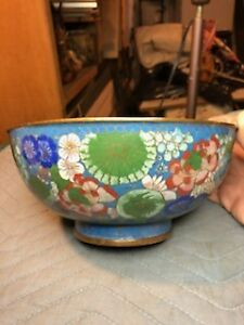 LARGE BEAUTIFUL ANTIQUE CHINESE & OR OTHER ASIAN CLOISONNE ENAMEL BOWL