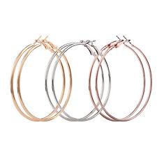 Ladies Girls Sterling Silver Gold Plated Smooth Big Large Hoop Earrings 4CM -9CM