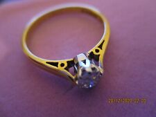 18 CT YELLOW GOLD , PLATINUM and DIAMOND SOLITAIRE ENGAGEMENT RING  , SIZE N 1/2