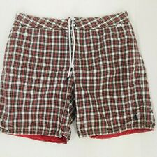 Vintage Polo Ralph Lauren Mens Swim Shorts Red Plaid Stripe Size 36 Reversible