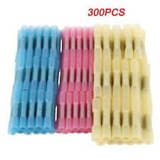 100pk 10-12ga SEAMLESS Nylon yellow Butt connector wire insulated crimp terminal