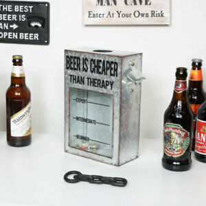 Industrial Wall Mounted Bottle Top Collector drinks home bar gift wall decor