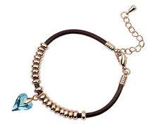 18K Gold GP Made With Swarovski Crystal Elements Blue Heart Bangle Bracelet