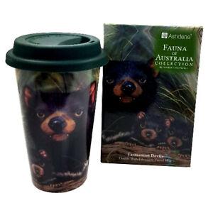 Australia Souvenir Tasmanian Devils Pup Joey Double Walled Bone China Travel Mug