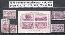 U.S. 1936 Commemorative Year Set  # 776 ~ 784  6 MNH Stamps