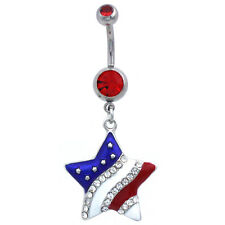 July Red Barbell Dangle Belly Ring Usa American Flag Stars Patriotic 4th of