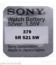 1 x Sony 379 BATTERIE KNOPFZELLE UHRENBATTERIE 1,5V SR 521 SW V379 SR63 AG0