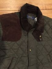 $365..POLO RALPH LAUREN..KHaki GREEN..QUILTED JACKET..w LEATHER TRIM..NWT..sz L
