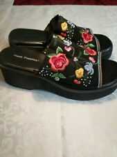 Hush Puppies Vintage Platforms 80s Embroidery Beaded Shoes Woman's sz.8