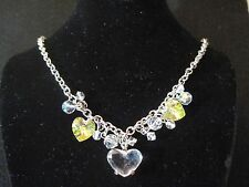 SWAROVSKI CRYSTAL & AURORA BOREALIS HEARTS CHARMS CHOKER NECKLACE 438
