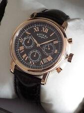 Rotary Da Uomo Con Cronografo gs03710/10 Movimento Svizzero Orologio Cinturino in Pelle-NUOVI