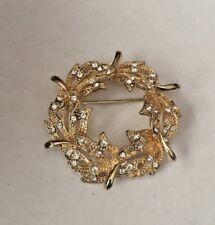 Vintage Sparkling Golden Leaves Brooch Pin