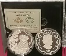 2018 Canada Lunar Lotus Year of the Dog $15 Pure Silver Proof Coin