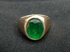Green Emerald Ring 925 Solid Sterling Silver Emerald Quartz Gemstone for Mens