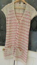 White Stuff Size 12 Long Cream & Pink Striped Cardigan linen lambswool cotton