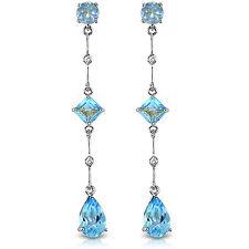 14K Solid White Gold Chandelier Earrings withDiamond & Blue Topaz