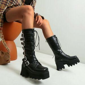Punk Women Platform Chunky Heels Calf Knee High Boots Gothic Riding Boots Shoes