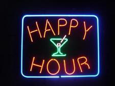 "24""x20""Happy Hour Martini Neon Sign Light Room Wall Display Handmade Real Glass"