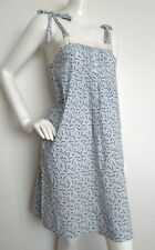 Designer PAUL & JOE strappy cotton dress size 10 --USED ONCE-- Silk trim blue