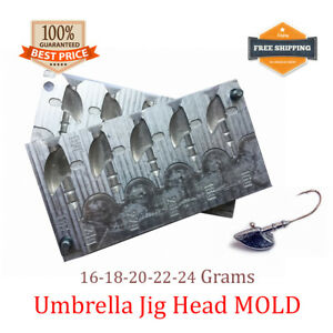 Fishing JigHead Umbrella Mold Lead Jig Head Sinker Weights 5 cavity (16 - 24 G)