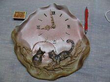 Wanduhr mit Katzen Mond Sonne rosa neuer Junghans Keramikplatte Relief Valentin