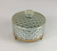 """Vintage Avon Dusting Powder Acrylic Crystal Gold Plastic Container Lid 6""""x4"""""""